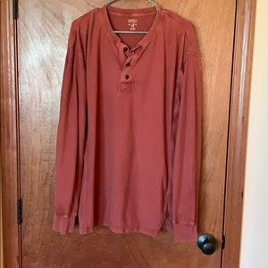 Red head Henley style shirt